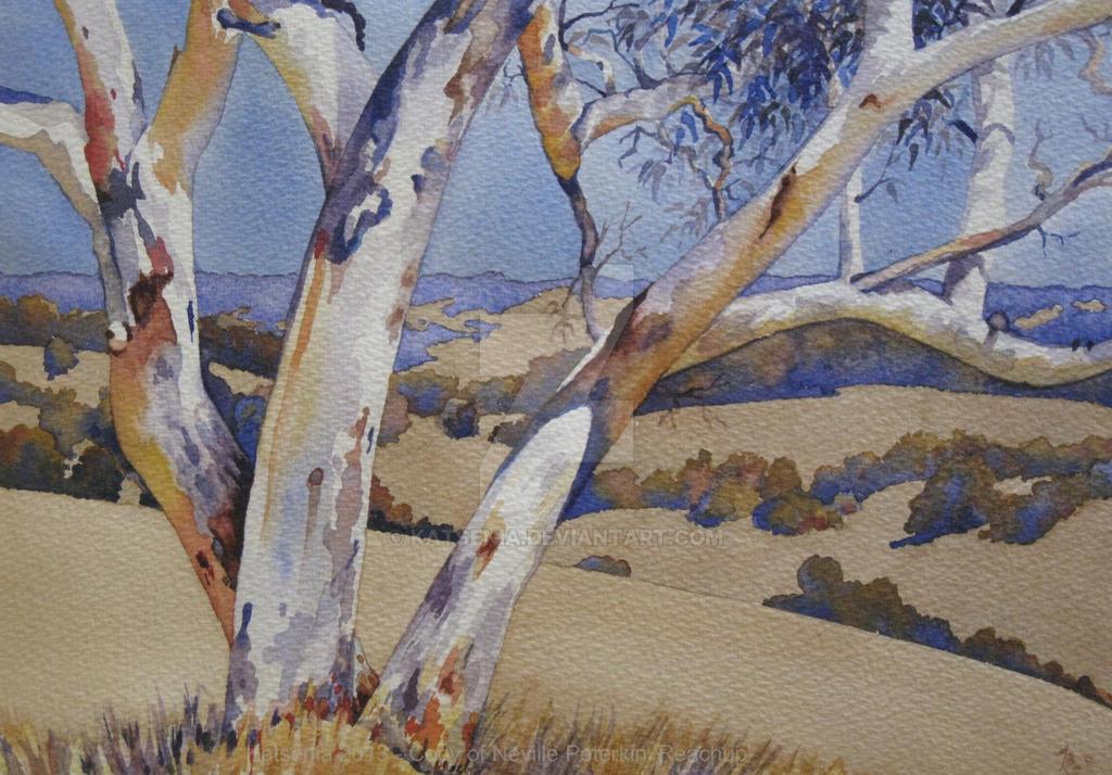 Watercolour of australian ghost gum tree by katsenia on for Australian mural artists