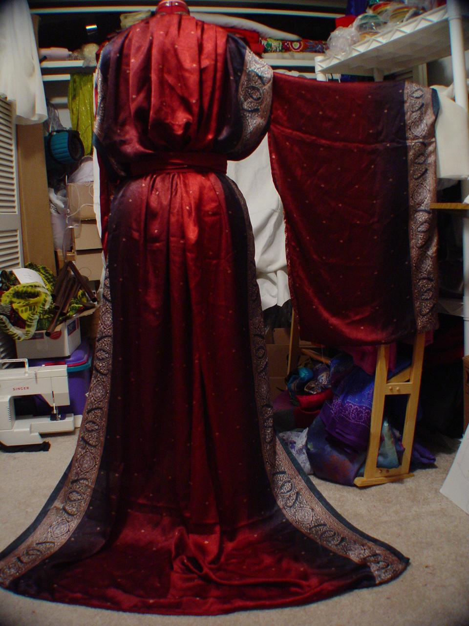 Maroon Sari Kimono - Back by HasturCTS