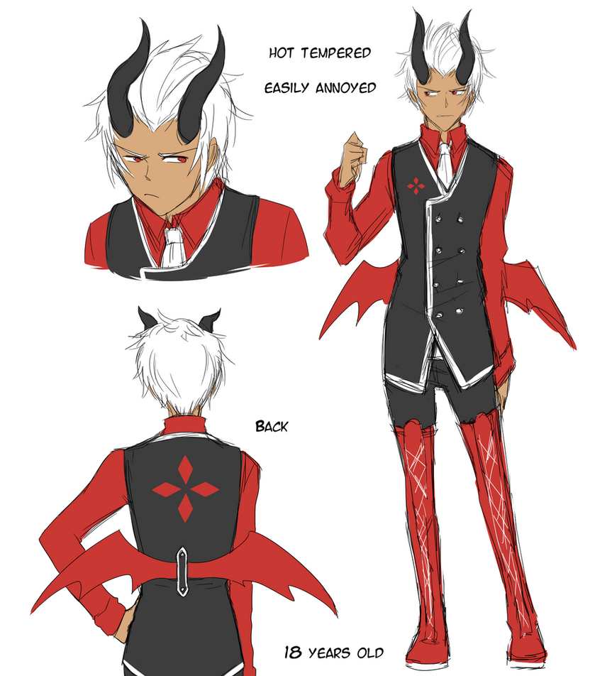 White Haired Demon Rough Design Sheet by cjwolf207