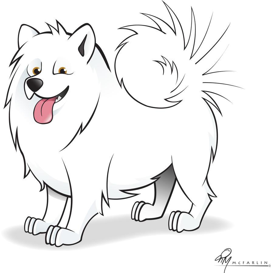 Cartoon Australian Shepherd Samoyed cartoon caricature by