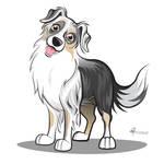 'Gypsie' Caricature - Australian Shepherd