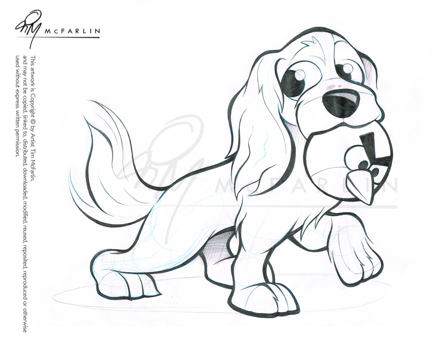 Cavalier Spaniel Caricature Sketch by timmcfarlin
