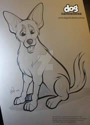 German Shepherd X Caricature Pencil Drawing
