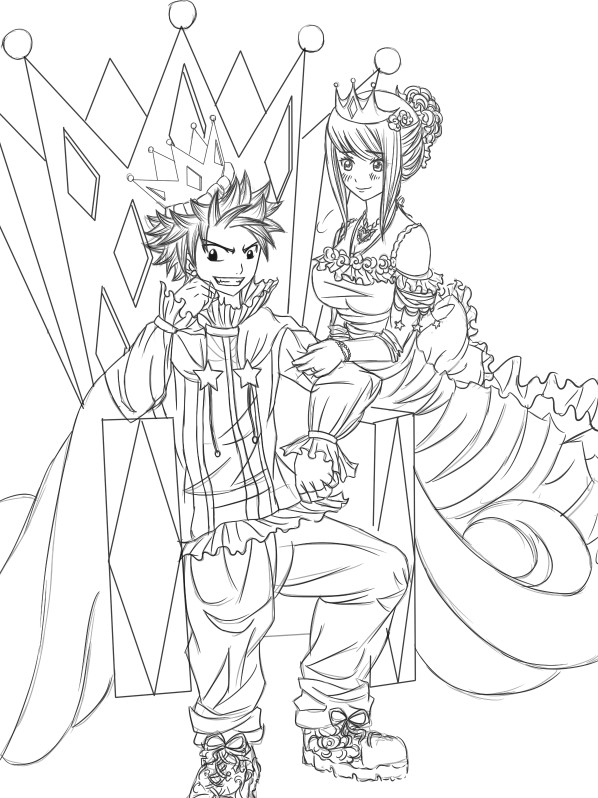 Line Art Queen : King queen line art by chengggg on deviantart