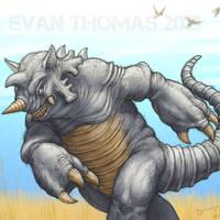 Rhydon on the savanna