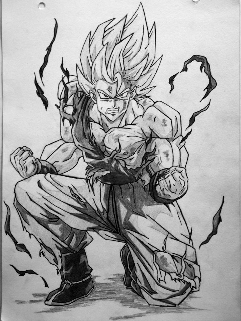 how to draw goku super saiyan 3 hair