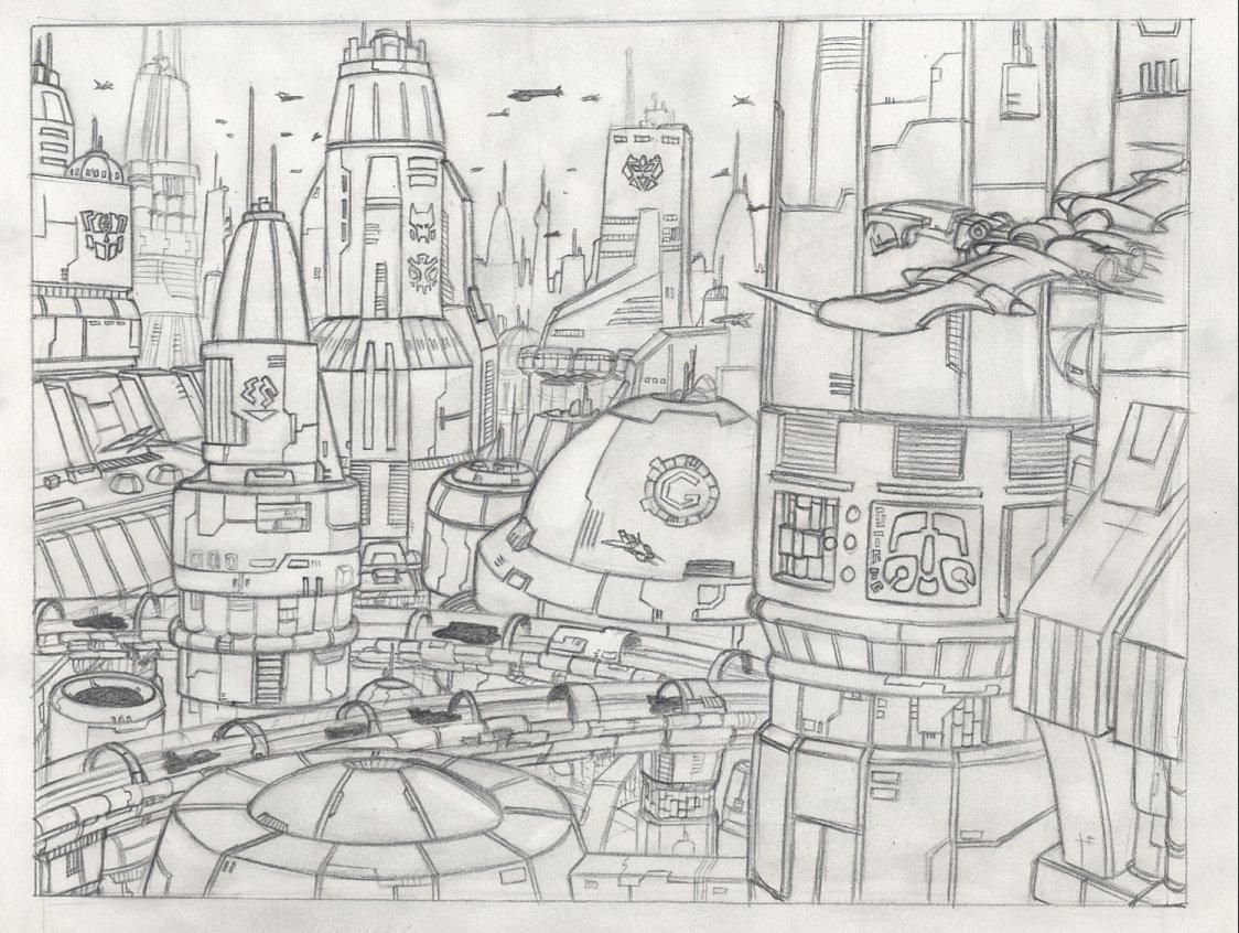 Kaon City Aerial View Sketch by hansime on DeviantArt