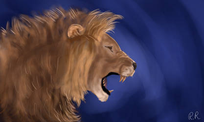 Lion Painting by PyraBlueFlame