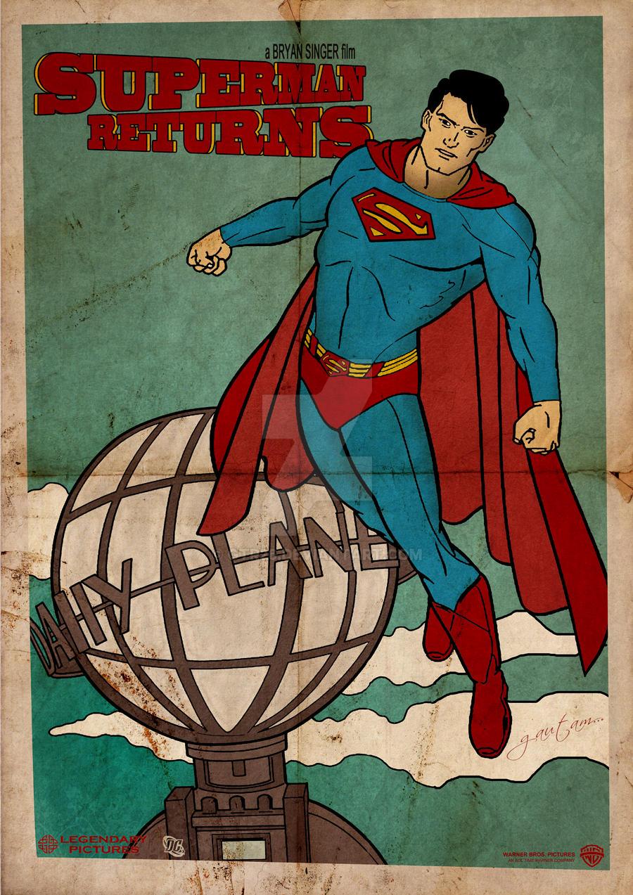 superman return vintage poster by gtr26 on deviantart