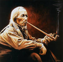 Indian with the Pipe by joseph-art