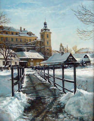 Winter Castle with the Bridge by joseph-art