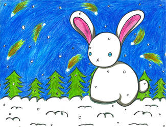 Starry Snowy Bunny by Froggy-Spaztastic