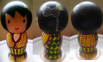 Japanese Kokeshi Mardi Gras Doll