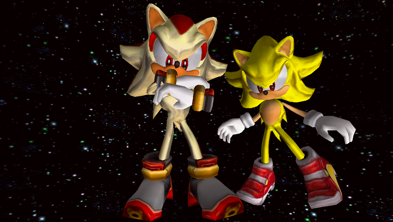 sonic adventure 2 super sonic and super shadow by hynotama