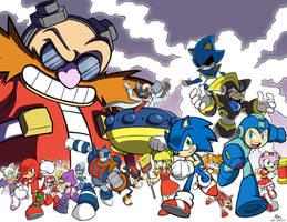 Sonic X Mega Man by Toug-2000