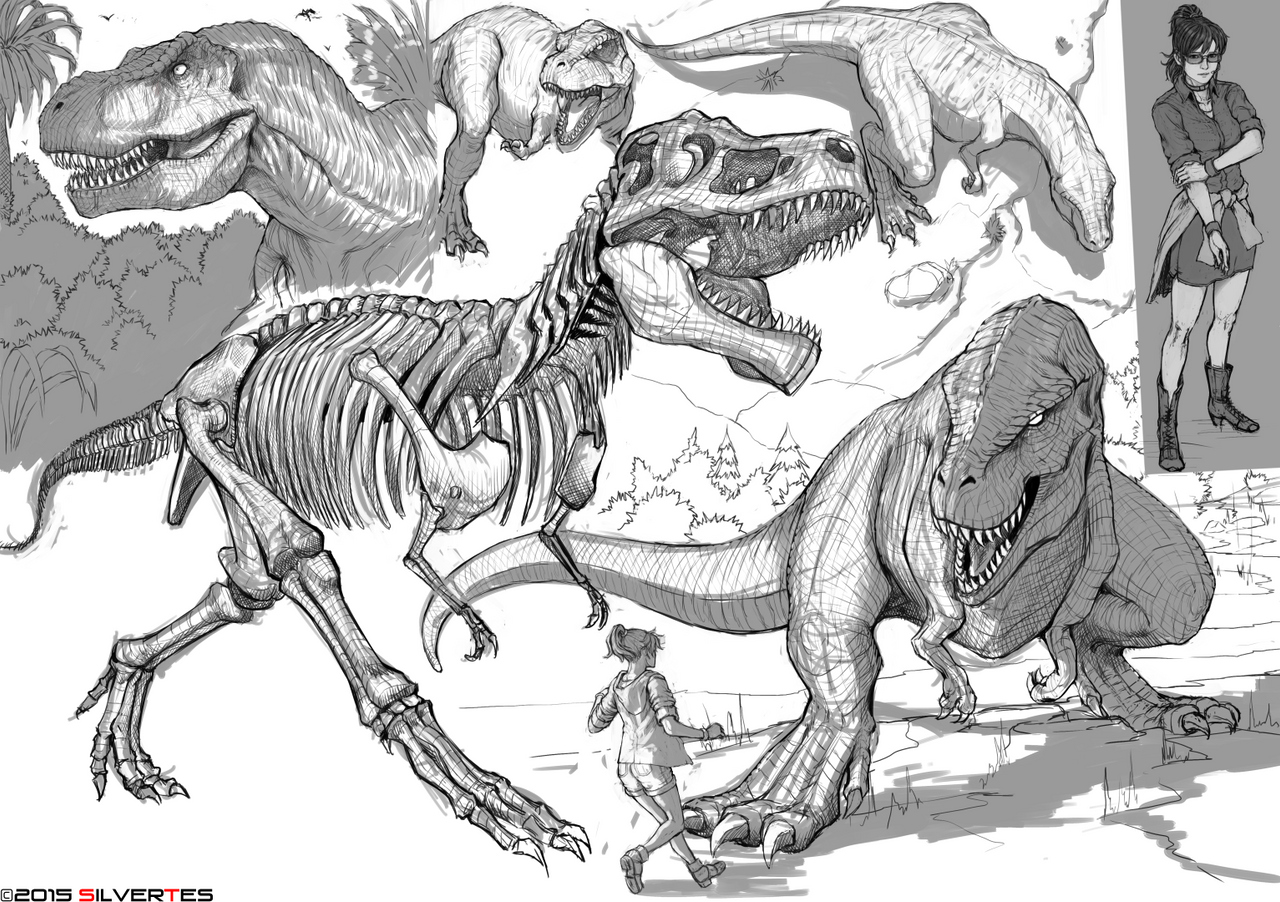 --- SilverTES Artworks --- Jurassic_roar___by_silvertes-d9czowr
