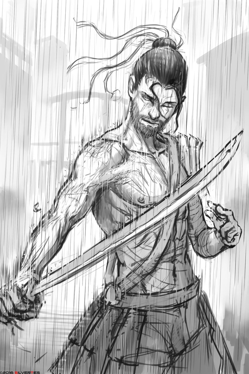 --- SilverTES Artworks --- Samurai_rain_by_silvertes-d9sbhi3