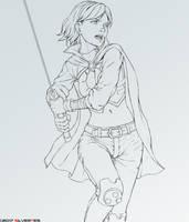 Mugen Girl action line art by SilverTES