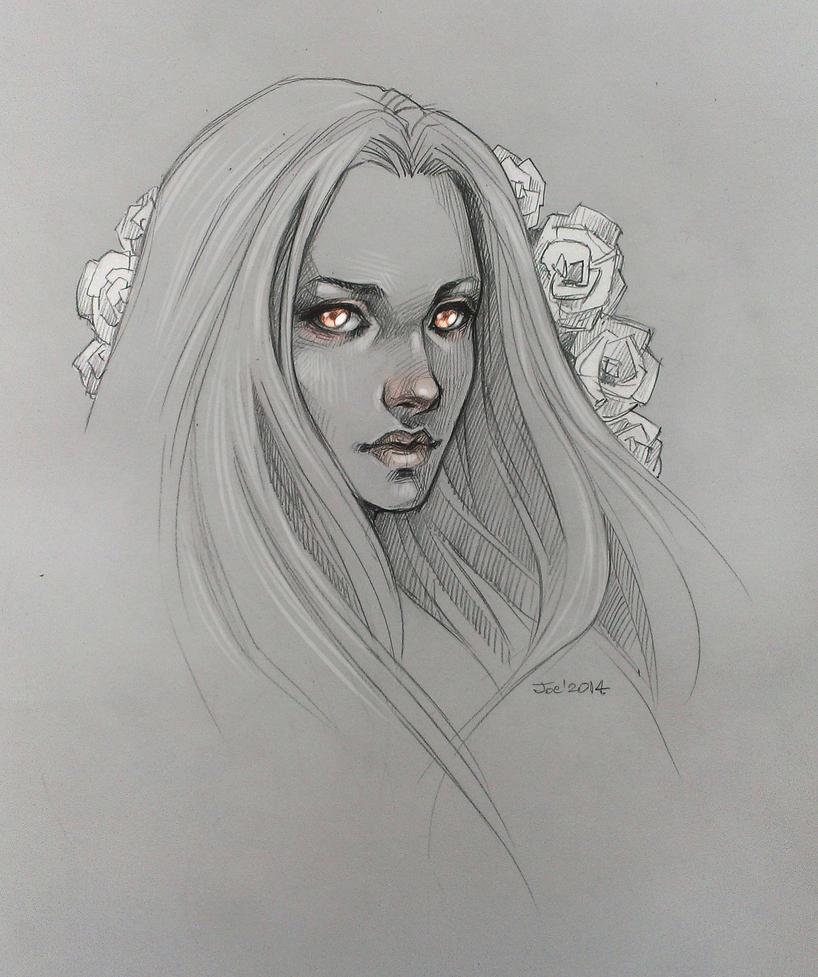 Sketch. Girl with roses by sashajoe