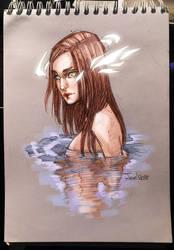 Sketch. Girl in the water by sashajoe