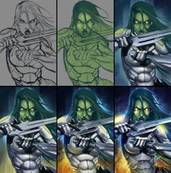 Gamora. Steps by sashajoe