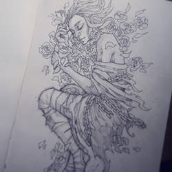 Girl with flowers. Sketch
