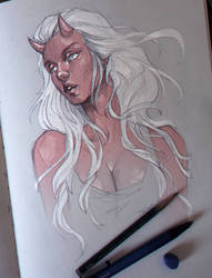 Sketch | Demon girl by sashajoe