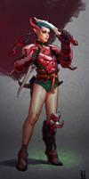 Girl in Red Armor