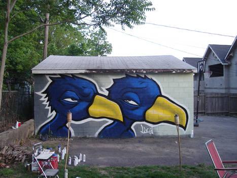 Birds on Joker's garage.