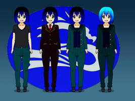 RWBY OC - Bleu Jay (Outfit Concepts) by Stormtali