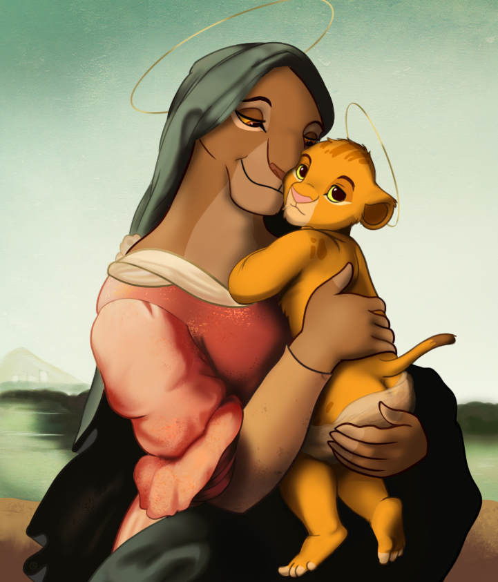 Sarabi and Child by clockworkcat