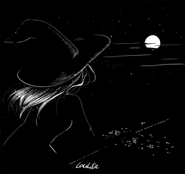 Inktober2018-Day 13 - Midnight by LouLilie