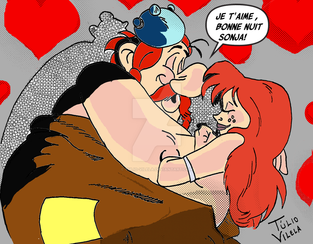 Obelix and Red Sonja by Tulio-Vilela