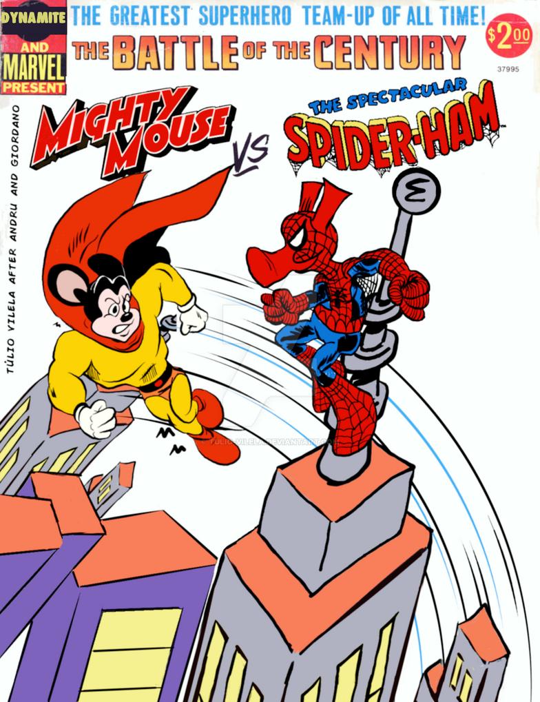 Mighty Mouse Versus Spider-Ham by Tulio-Vilela