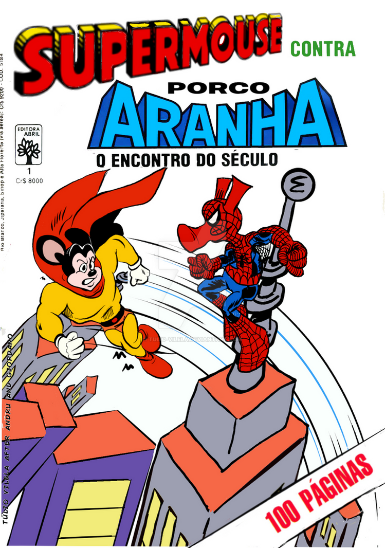 Supermouse contra Porco-Aranha by Tulio-Vilela