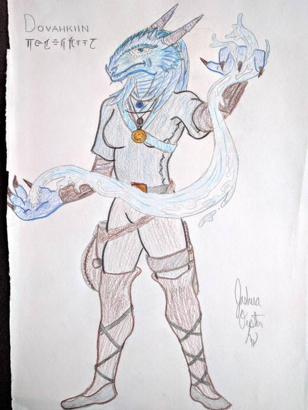 Blue dragonborn monk DD by BrandolaBlue