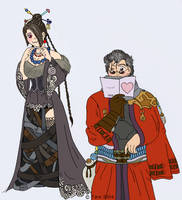 Embarrassed --- Lulu and Auron by twin-blades