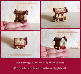 Queen of Flowers, miniature gypsy caravan