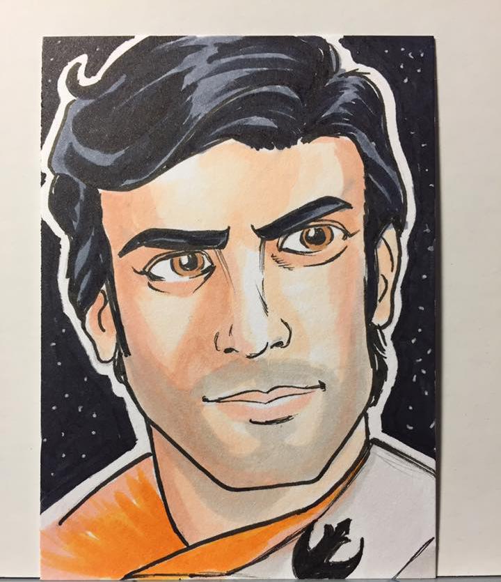 Poe Dameron sketch card by JimMcClain