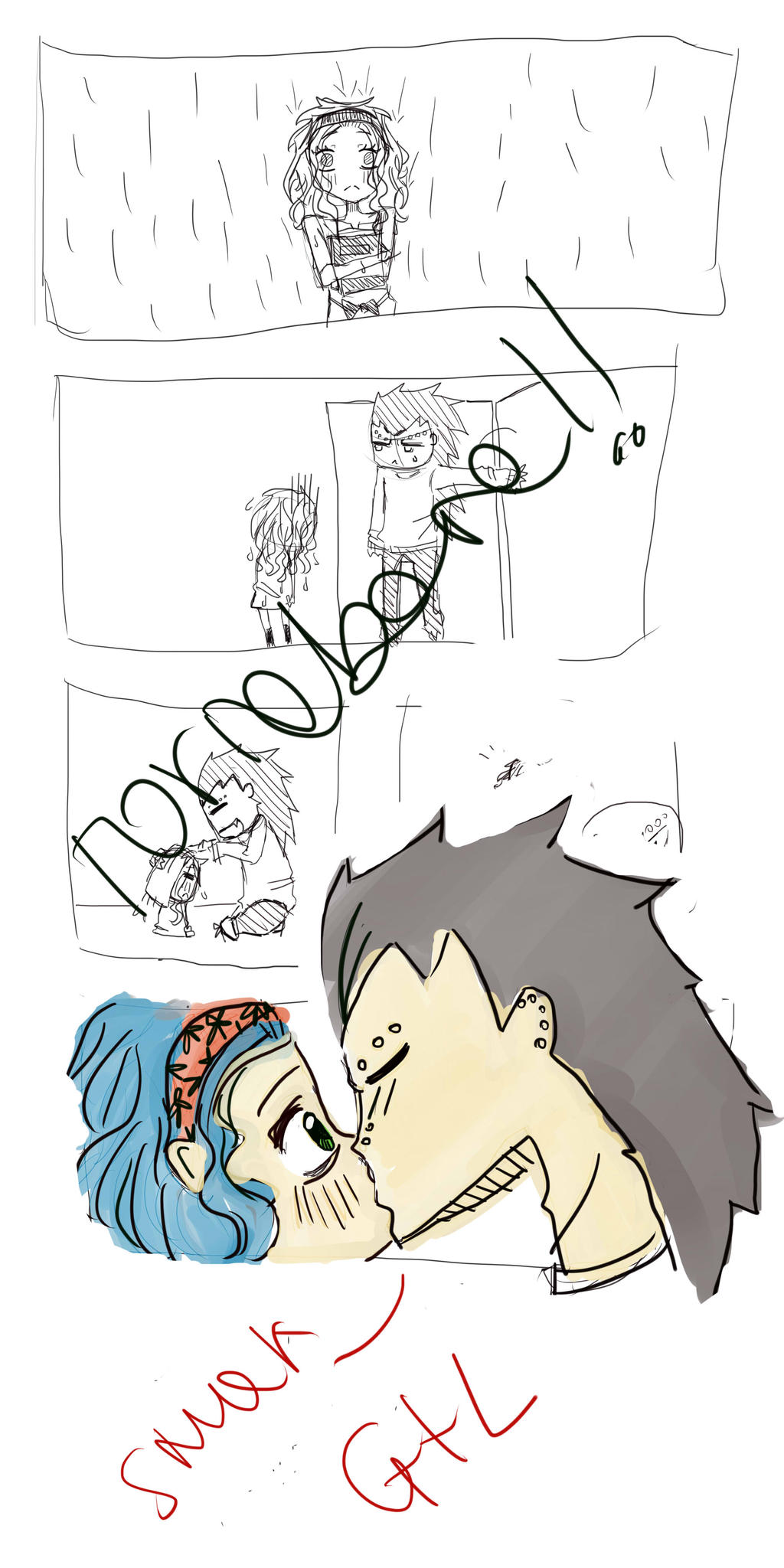 gajeel and levy kiss by toriabara on deviantart
