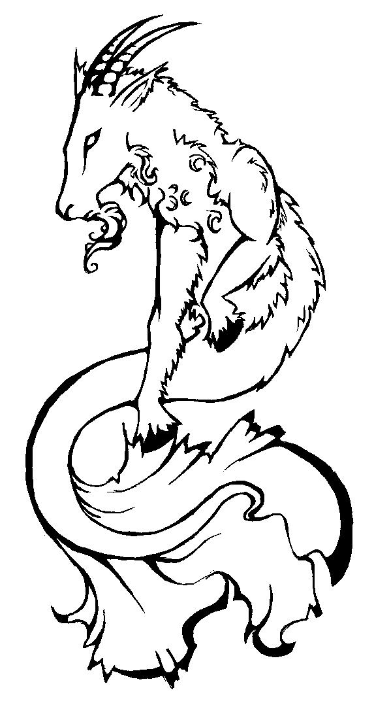 Capricorn zodiac drawing sketch coloring page for Capricorn coloring pages