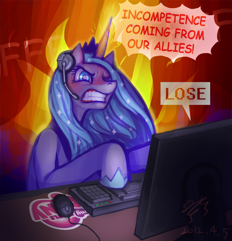 MLP-angry Luna gamer by pmo0908 on DeviantArt