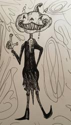 Inktober Day #4 - Pumpkin Creep by DrewCopenhaver