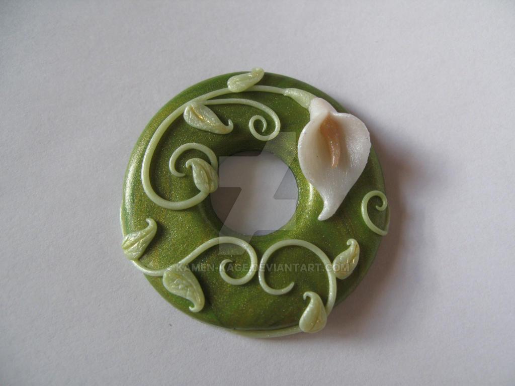 Green donut fimo pendant arum by kamen-kage
