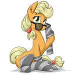 Nerd apple pone with stripped socks