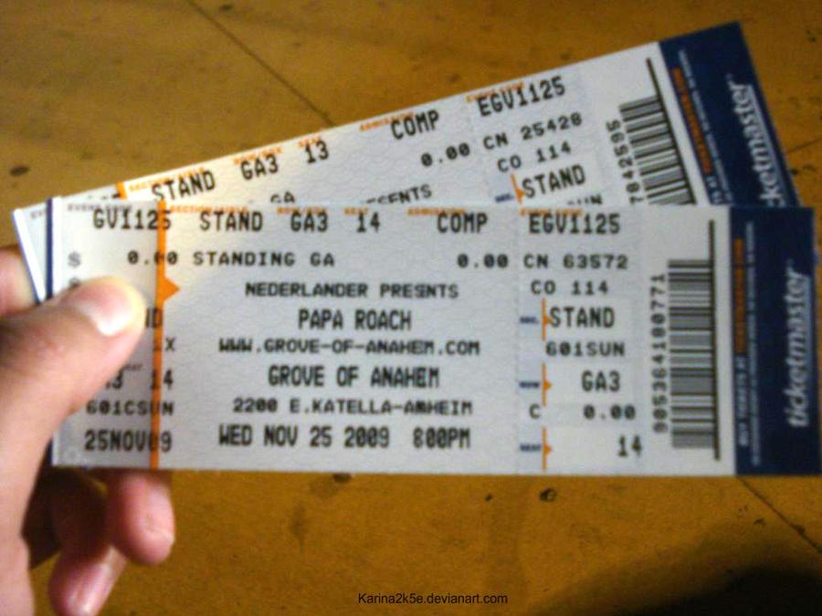 Papa Roach Tickets by Karina2k5e
