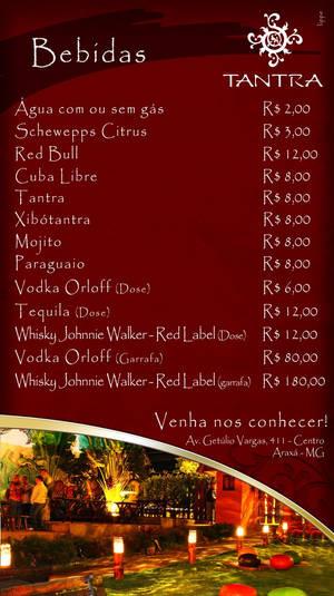 Tantra festival back menu