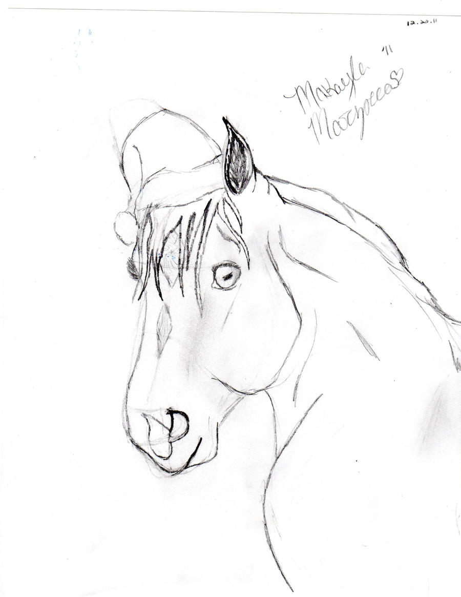 Christmas Horse Drawing.Christmas Horse Lineart By Phyrefliy On Deviantart