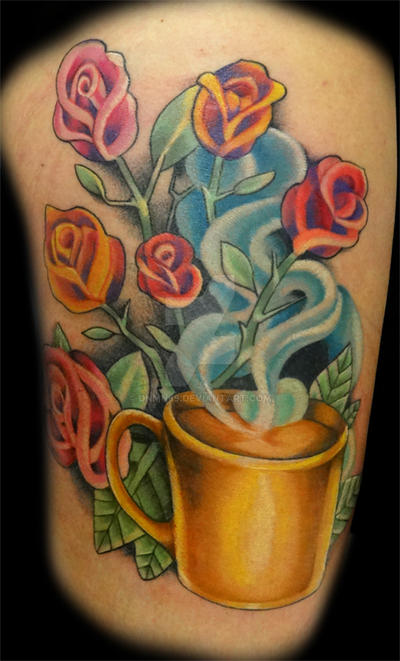 Coffee Cup with Roses by dnmn89