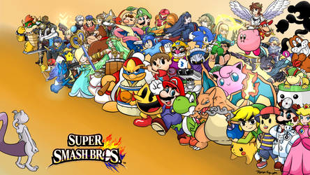 Super Smash Bros: The Roster Wallpaper + MEWTWO by 4bitscomic